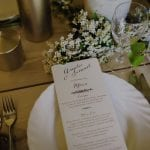 Wedding menu and table decorations designed by Kim Chan Events