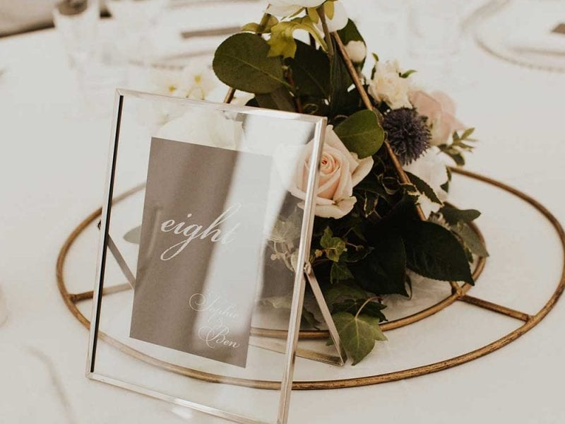 Wedding table name cards and decorations
