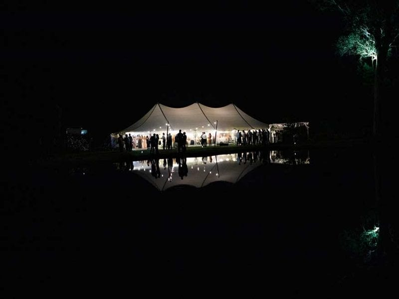 Gabby and Julian's marquee wedding at night