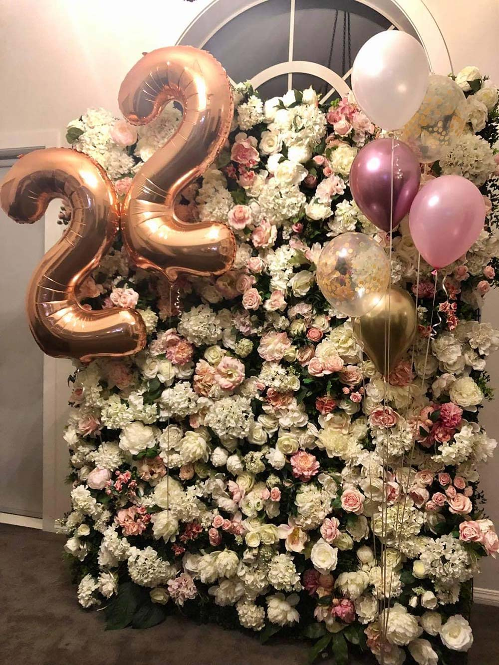 22nd birthday flower wall hire