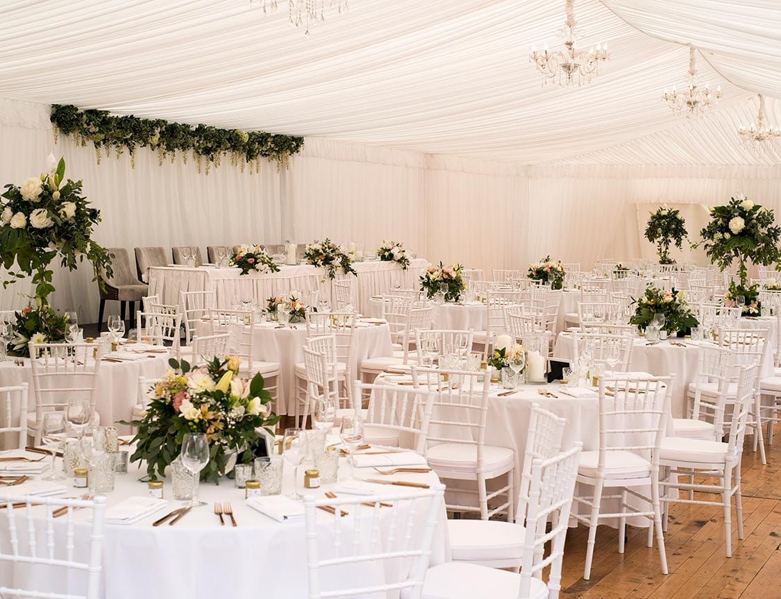 Beautiful green and white themed marquee wedding styling