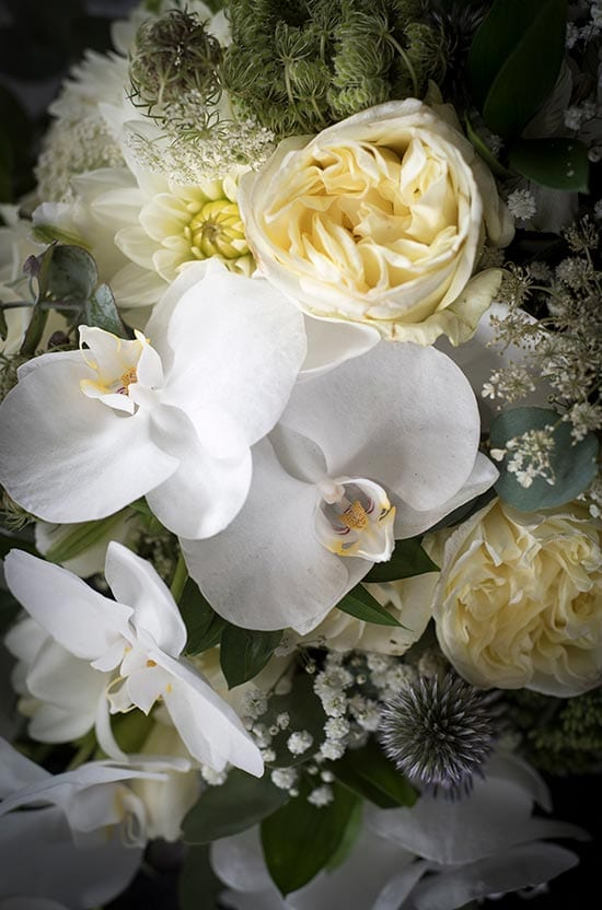 Beautiful white orchids in bridal bouquet