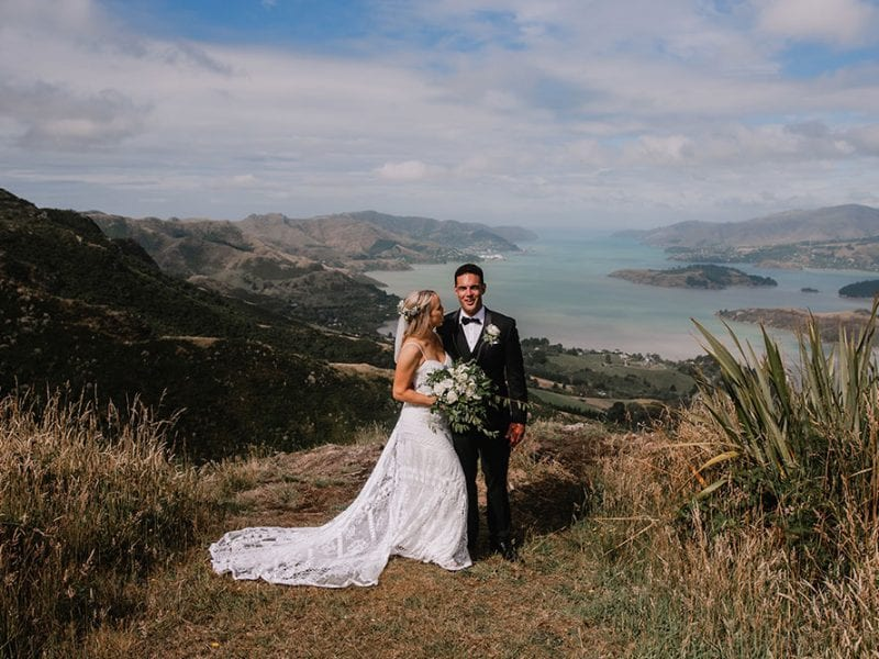 Lovely bride and groom on the Port Hills of Christchurch
