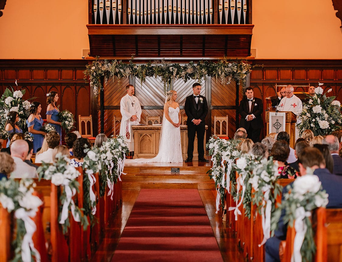 Gorgeous wedding styling at Knox Church for Ben and Claire
