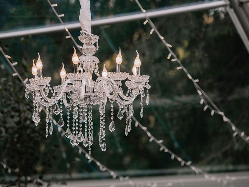 Chandelier in marquee