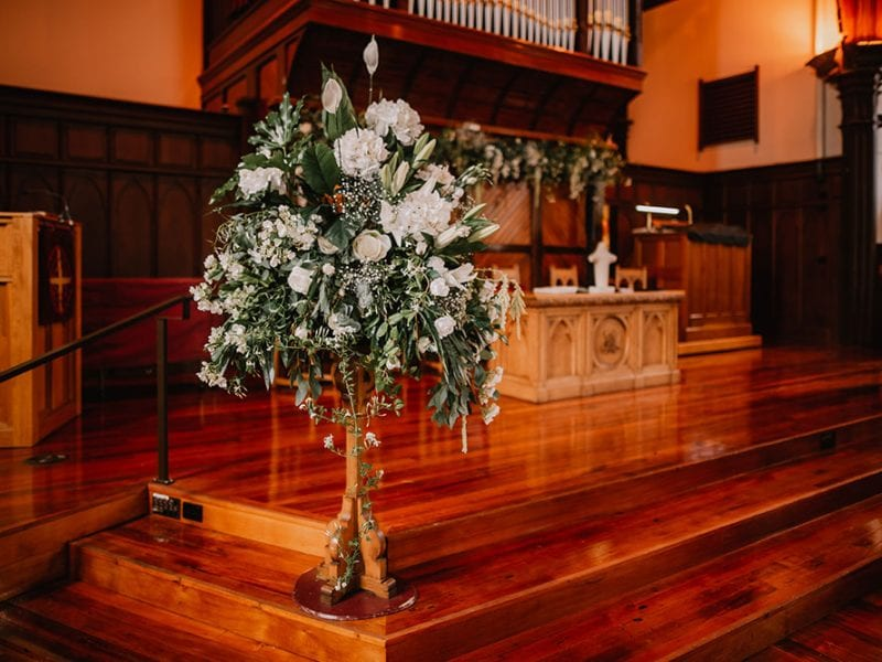 Beautiful flower feature piece for wedding at church